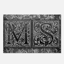 MS initials. Vintage, Flo Postcards (Package of 8)