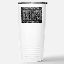 MS initials. Vintage, Floral Travel Mug