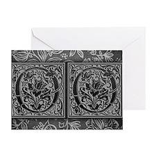 OO initials. Vintage, Floral Greeting Card