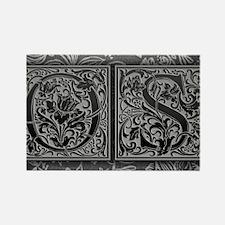 OS initials. Vintage, Floral Rectangle Magnet