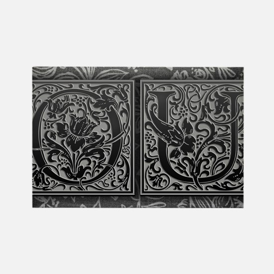 OU initials. Vintage, Floral Rectangle Magnet