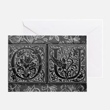 OU initials. Vintage, Floral Greeting Card