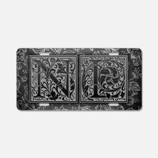 NL initials. Vintage, Flora Aluminum License Plate