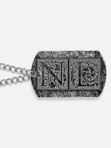 NL initials. Vintage, Floral Dog Tags