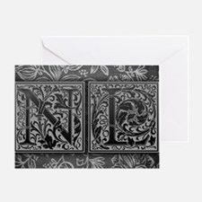 NL initials. Vintage, Floral Greeting Card