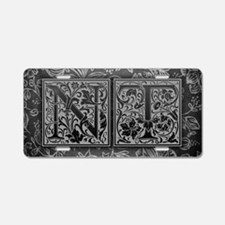 NT initials. Vintage, Flora Aluminum License Plate