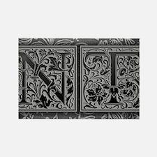 NT initials. Vintage, Floral Rectangle Magnet