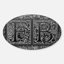 FB initials. Vintage, Floral Decal