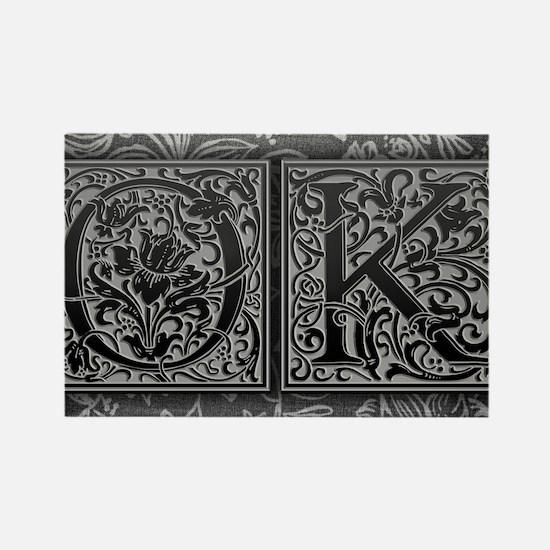 OK initials. Vintage, Floral Rectangle Magnet