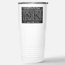 OK initials. Vintage, Floral Travel Mug