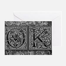 OK initials. Vintage, Floral Greeting Card