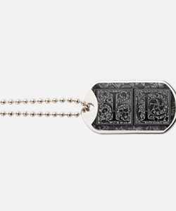 IL initials. Vintage, Floral Dog Tags