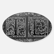 IL initials. Vintage, Floral Sticker (Oval)