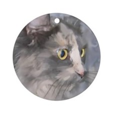 Cool Tortoise shell cat Ornament (Round)