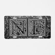 NF initials. Vintage, Flora Aluminum License Plate