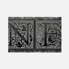 NF initials. Vintage, Floral Rectangle Magnet