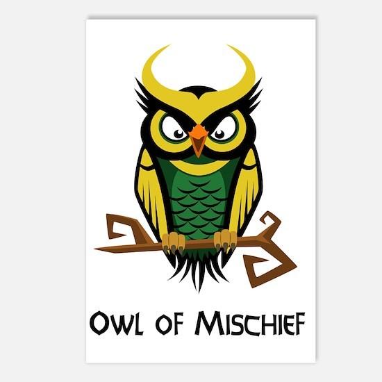 Owl of Mischief Postcards (Package of 8)