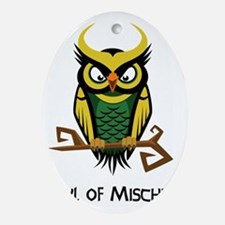 Owl of Mischief Oval Ornament