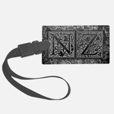 NZ initials. Vintage, Floral Luggage Tag
