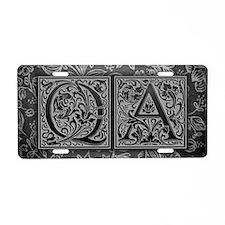 QA initials. Vintage, Flora Aluminum License Plate