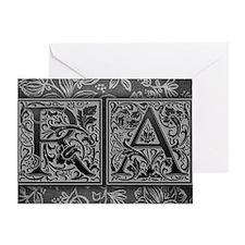 RA initials. Vintage, Floral Greeting Card