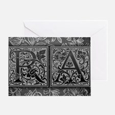 RA initials. Vintage, Floral Greeting Card