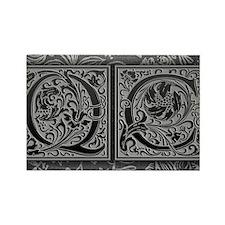 QC initials. Vintage, Floral Rectangle Magnet