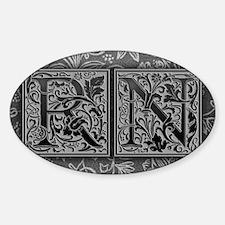 RN initials. Vintage, Floral Decal