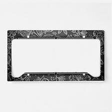 RM initials. Vintage, Floral License Plate Holder