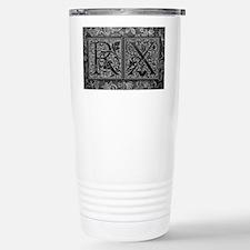 RX initials. Vintage, Floral Travel Mug