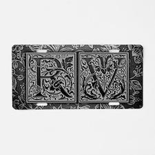 RV initials. Vintage, Flora Aluminum License Plate
