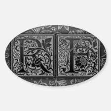 RF initials. Vintage, Floral Decal