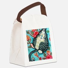 Tabby Cat on a Cushion Messenger  Canvas Lunch Bag