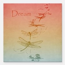 "Dream Dragonflies Square Car Magnet 3"" x 3"""