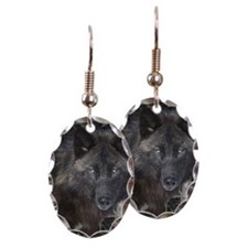 Black timber wolf Earring Oval Charm