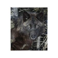 Black timber wolf Throw Blanket