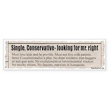 """Looking for Mr. """"Right"""" Ad Bumper Bumper Sticker"""