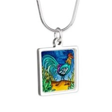 Rooster Silver Square Necklace
