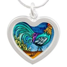 Rooster Silver Heart Necklace