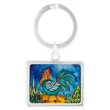 Rooster 2 Landscape Keychain
