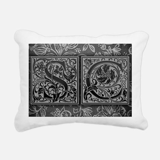SC initials. Vintage, Fl Rectangular Canvas Pillow