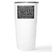 SW initials. Vintage, Floral Travel Mug