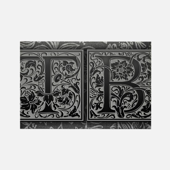 TB initials. Vintage, Floral Rectangle Magnet