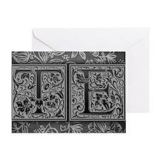 TE initials. Vintage, Floral Greeting Card