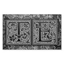 TE initials. Vintage, Floral Decal