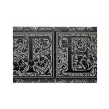 TE initials. Vintage, Floral Rectangle Magnet