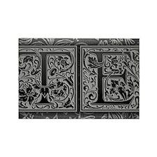 TE initials. Vintage, Floral Rectangle Magnet