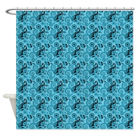 aqua blue paisley shower curtain by graphicallusions