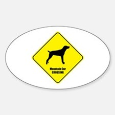 Cur Crossing Oval Decal