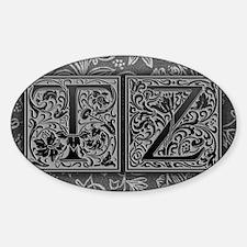 TZ initials. Vintage, Floral Sticker (Oval)